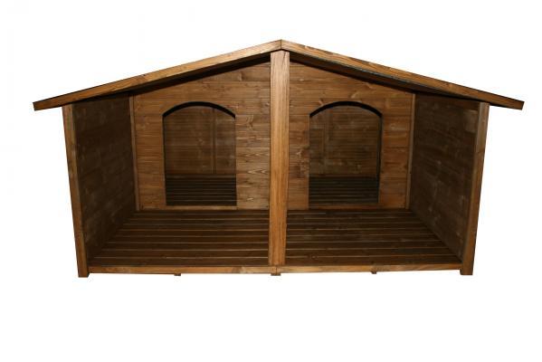 Casetas de madera para perro modelo lara doble iii porche - Caseta para perro grande ...